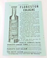1881 FLORESTON Cologne Tall Bottle VTG American Advertisement NY New Remedies