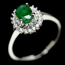 NATURAL 5 X 7mm. GREEN EMERALD & WHITE CZ STERLING 925 SILVER RING SZ 7