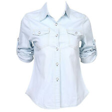 US STOCK Women Casual Jean Soft Denim Long Sleeve Shirt Tops Blouse Jacket