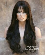 NEW EXTRA Long Flowing wavy Dark Brown Full WIG JSJO 4 Hair piece NWT