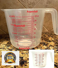 1 - 4 Cup Plastic Measuring Cup~1 Liter 32oz 1000mL  W/ Pour Spout & Handle