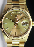 ROLEX - Mens 36mm 18kt Gold Day-Date President Champagne Index 18038 SANT BLANC
