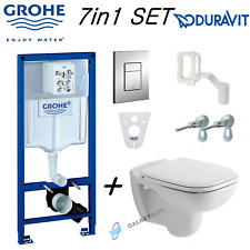 GROHE RAPID SL WC FRAME & DURAVIT D-CODE WALL HUNG TOILET PAN & SOFT CLOSE SEAT