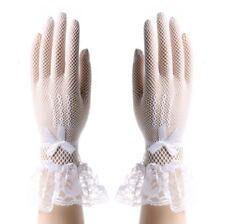 Gants longueur poignet en dentelle et résille blanche, accessoire mariage
