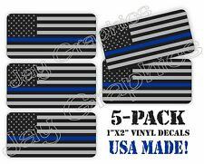 5x Thin Blue Line American Flag Hard Hat Decals Helmet Stickers Police Tactical