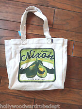 NIXON market bag purse AVACADO raw food vegan fruit farmer cotton tote shopping