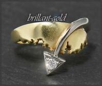 Diamant 585 Gold Ring, Brillant mit 0,10ct, Gelbgold & Weißgold Solitär Bandring