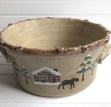 "Sonoma Lodge Rustic Winter Cabin Large 10"" Salad Serving Bowl Home Goods"