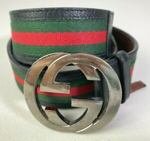 Gucci Mens Red Green Interlocking Belt Sz 34 Leather Canvas Made In Italy