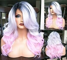 USA: Human HAIR BLEND Silver Ombre Gray Pink Wavy Swiss LACE FRONT WIG Dark Root
