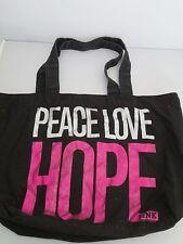 Victoria's Secret Bag Black Canvas Tote Purse Silver Pink Peace Love Hope