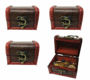 Schatztruhe Mini Schmuckkästchen kleine Holztruhe mit Haken Rot 4 Stück Set