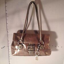 Giani Bernini Glazed Golden Brown Leather Shoulder Handbag Bag Satchel Key Chain