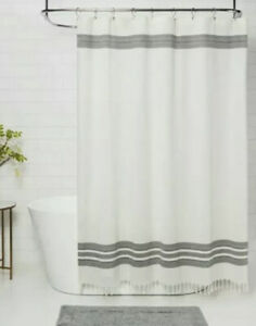 Threshold Cream Black Stripe Cotton Shower Curtain  Fringe Trim Modern Farmhouse