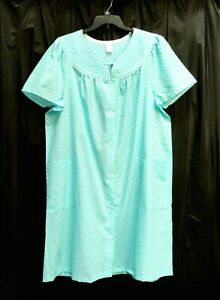 LIGHTWEIGHT PLISSE SNAP FRONT HOUSE DRESS COAT DUSTER NIGHTGOWN ROBE~2X~3X~NEW*