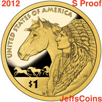 2012 S Sacagawea Native American Golden Dollar PROOF Trade Routes Indian Horse