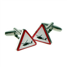 Warning Triangle Sign Helicopter Cufflinks X2BOT007