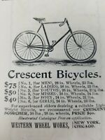 1895 Original Antique Print Ad, Crescent Bicycles, Western Wheel Works, Scorcher