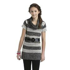 Sweater Project Girl's Cowl Neck Tunic Sweater & Belt - Striped Kids Size: L