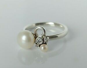 Fine Beautiful Sterling Silver White Pearl & Simulated Diamond Ring UK N 1/2