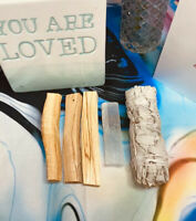 "Energy Cleansing Kit White Sage Smudge Stick 4"" Selenite Crystal 3 Palo Santo"
