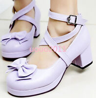 Womens  Mary Jane Bowknot cross strapp ankle buckle block heels Lolita shoes Sz