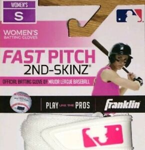 Franklin Fast Pitch 2nd-Skinz Batting Gloves - White/Pink - Women's Small - New