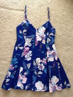 Women's Sleeveless Royal Blue Floral Evening Cocktail Party Short Dress Size 12