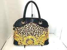 Auth GIANNIVERSACE Yellow Brown Black PVC &  Leather Handbag