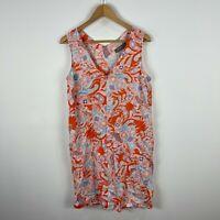 Sussan Womens Linen Dress 10 Multicoloured Paisley Sleeveless Pockets Shift