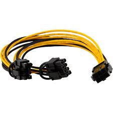 PCI-E 6-pin to 2x 6+2-pin (6-pin/8-pin) Power Splitter Cable PCIE PCI Express GB