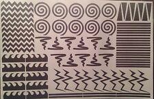 Variety Sheet -  84 Nail Vinyls Per Sheet!  Chevron Spiral Cyclone Stripes Waves