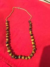 Genuine Tigers Eye Bead Necklace - 34 beads