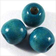 Lot de 20 Perles rondes en Bois 14mm Bleu Turquoise