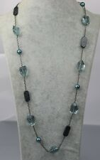 Lia sophia signed jewelry black tone blue acrylic beads link long necklace chain