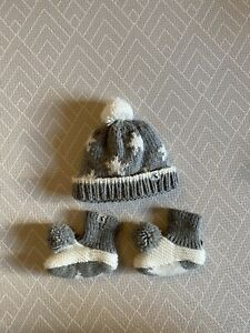 Baby JOULES grey White Stars Wooly Knitted Winter Hat Booties Pom Pom 0-6 Months