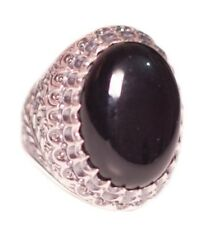 Sterling silver 925  Men ring, Onyx natural  stone, Steel pen craft