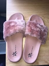 Pink Fluffy Fur Slides Size 11 Women's