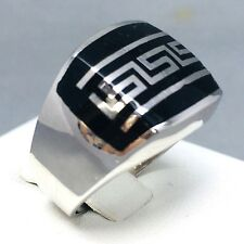 """925 STERLING SILVER """"ONYX"""" PATTERNED LINED SIGNET MEN'S RING  SIZE """"S½""""  071B"""