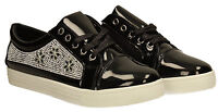 Womens Designer Casual Creeper Jewel Sid Trainers Black Diamante Ladies Sneakers