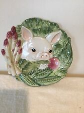 """Fitz & Floyd Classics French Market Pig Canape Plate Platter7.5""""Asparagus Beets"""