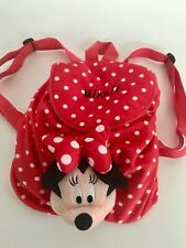 Disney Minnie Red Polka Dot Kid's Backpack Stuffed Plush Head Velvet Fabric Used