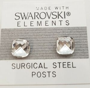 Silver Round Square Earrings 8mm Crystal Stud Made with Swarovski Elements