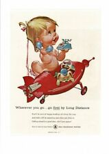 VINTAGE 1961 BELL TELEPHONE SYSTEM BABY IN RED ROCKET TOYS & TELEPHONE AD PRINT