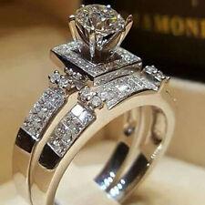 925 Silver White Sapphire Wedding Rings Set Women Princess Jewelry Size 5-11