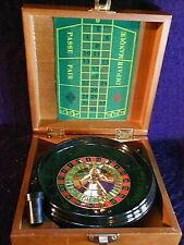 MINIATURE TRAVELING  ROULETTE WHEEL in wood box.
