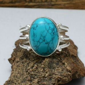 Blue Turquoise Ring 925 Sterling Silver Ring Handmade Ring All Size ME-71
