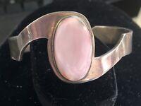 Vintage Sterling Silver Mexico 950 Lg Rose Quartz Taxco Cuff Bracelet UNIQUE 35g