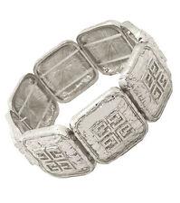 Silver GREECE LOGO Statement BRACELET CHUNKY Greek Key Pattern STRETCH Metal