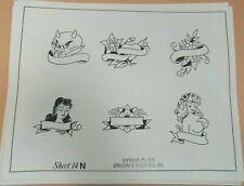 Vintage 1976 RARE Spaulding & Rogers Tattoo Flash Sheet #14N Litt;e Red Devil